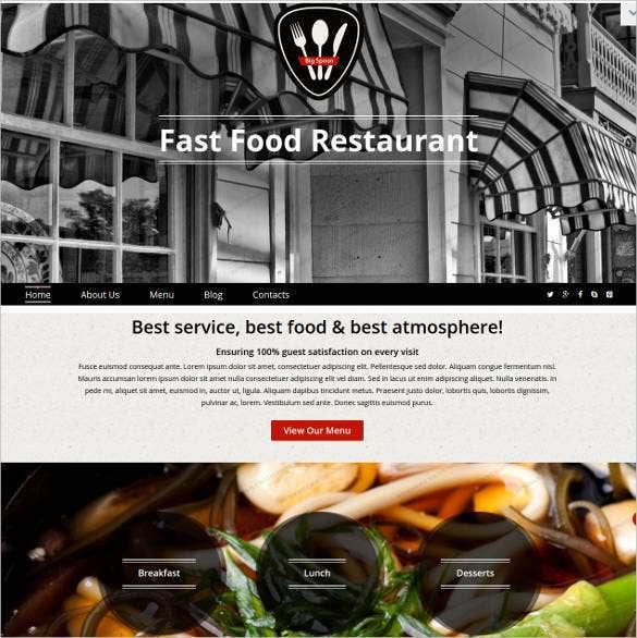 fast food restaurant responsive website template1