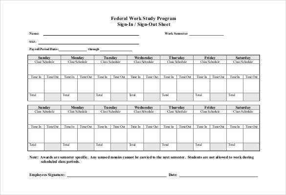 federal work study program sign in sign out sheet