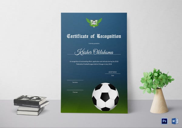 federation football league recognition certificate