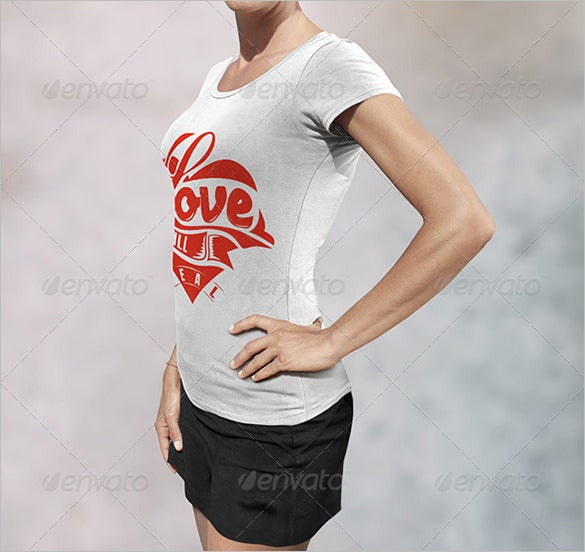 female t shirt mockup psd template