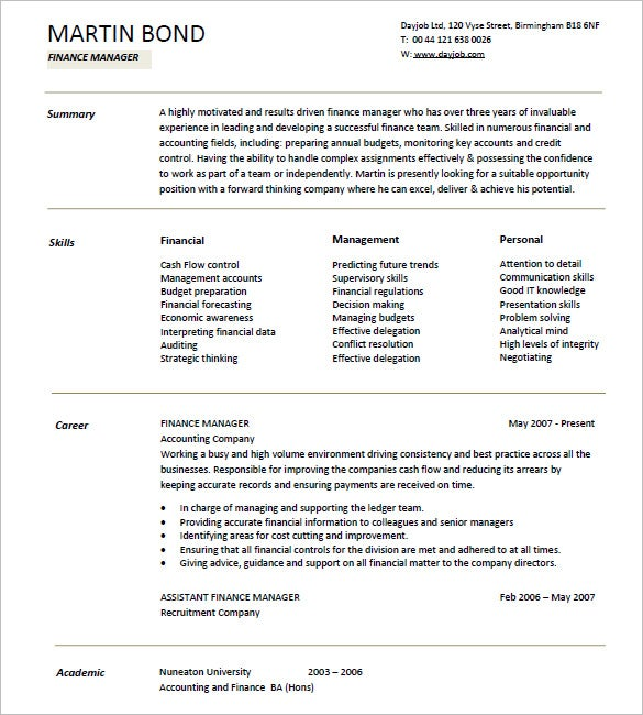 Finance Manager Resume Template  Business Resume Templates