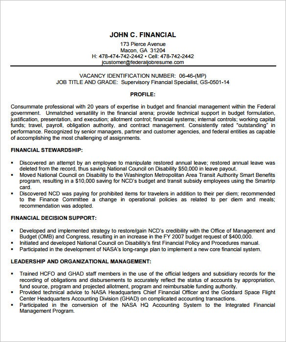 Financial Manager Federal Resume Template  Resume For Federal Government Jobs