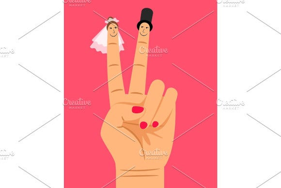 finger puppets of bride and groom