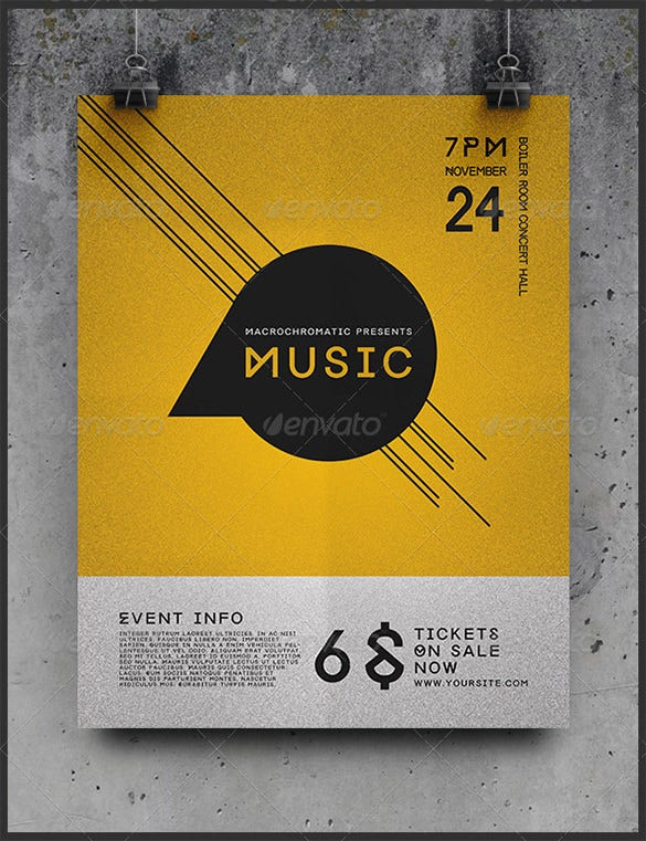 flat design concert poster psd for 6