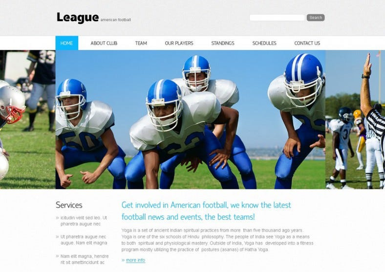 Flat Design Football PSD Website Template