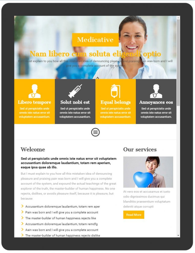 flat design mobile template for hospitals 788x1020