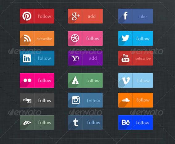 flat design social buttons