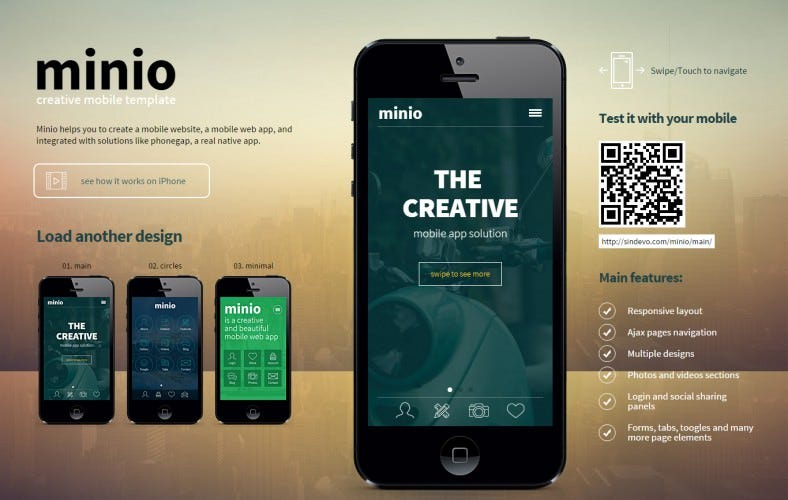 flat mobile htmlcss template for web app 788x500