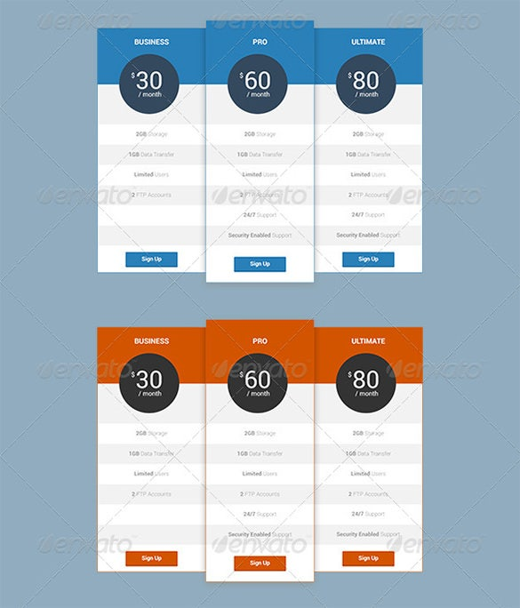 flatstyle pricing table psd template 4