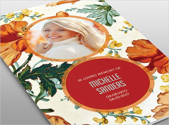 floral psd obituary template