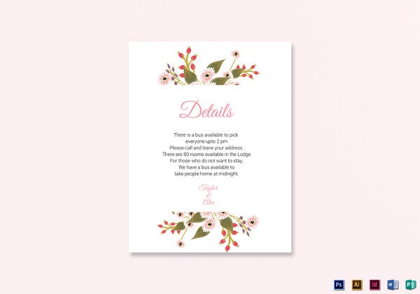floral wedding details card template