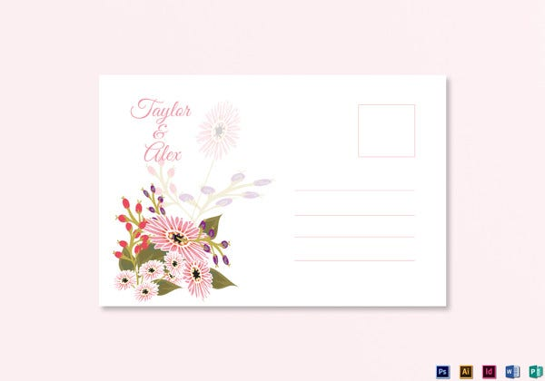 floral wedding post card template
