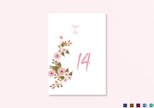 floral-wedding-table-number-card-template