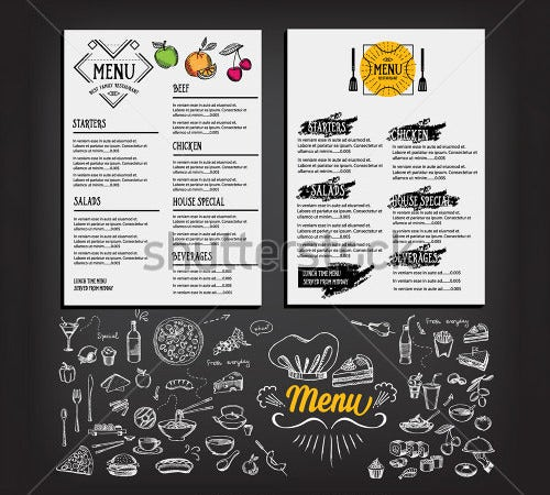 food menu restaurant template design