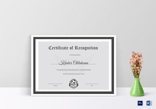 football recognition certificate template