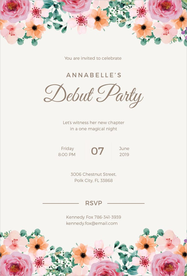formal debut invitation illustrator template