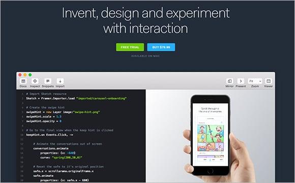 framerjs prototyping web design tool