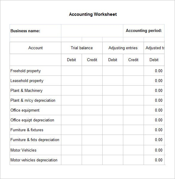 Accounting Worksheet Templates  Free Excel Documents Download