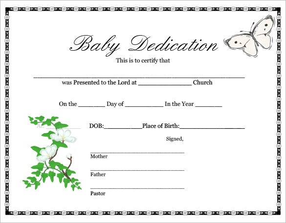 Baby Dedication Certificate Template   Free Word Pdf Documents