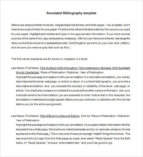 annotated bibliography An annotated bibliography is a working list of references—books, journal articles, online documents, websites, etc—that you will use for an essay, research paper, or project however, each reference citation is followed by a short summative and /or evaluative paragraph, which is called an annotation the purpose of the.