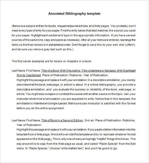7+ Annotated Bibliography Templates – Free Word & Pdf Format