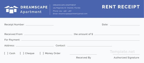 free apartment rent receipt template