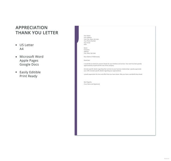 Thank You Letter For Appreciation   Free Sample Example Format