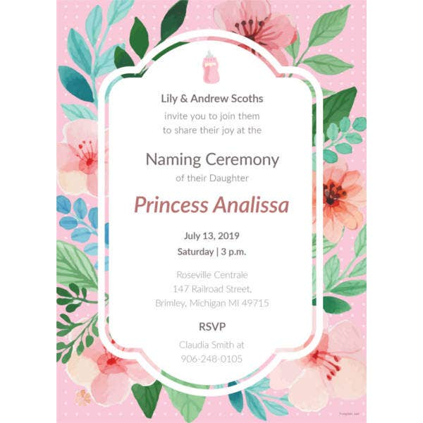 41 Naming Ceremony Invitations Free Psd Pdf Format