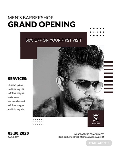 free barbershop grand opening flyer