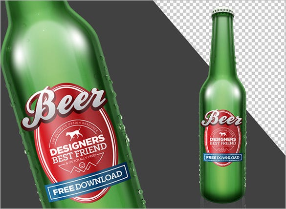 free bottle mockup psd template