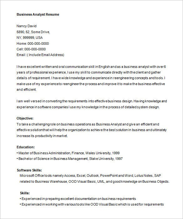 business analyst resume word example free template