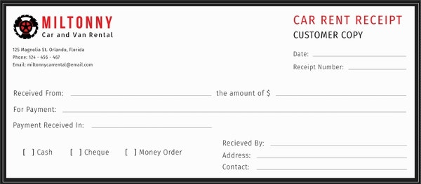 free car rent receipt template