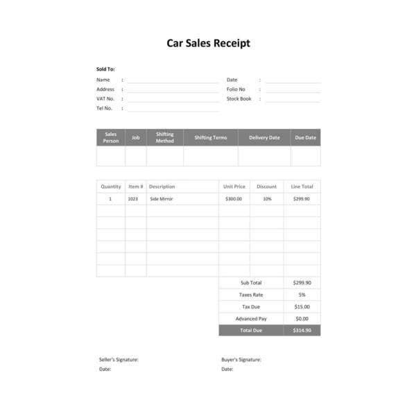 free car sale receipt template1