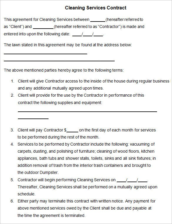 Cleaning Contract Template - 27 Word, Pdf Documents Download