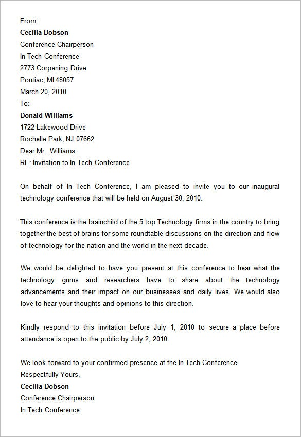 Free Conference Invitation Letter Format  Corporate Invitation Format