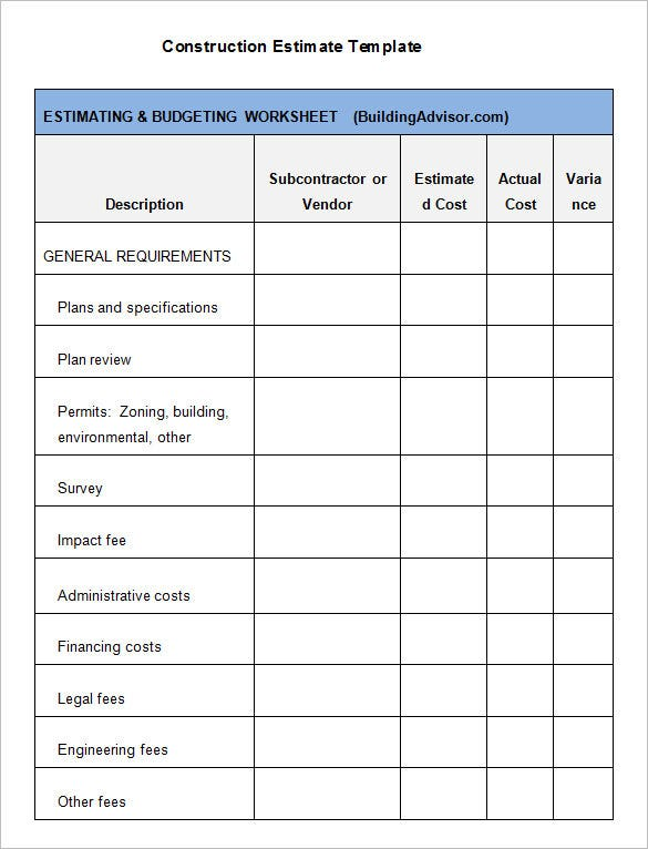 Construction Estimate Templates PDF DOC Excel Free - Work estimate template pdf