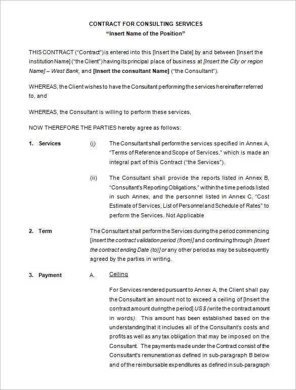 Consulting Contract Templates  Free Word  Documents