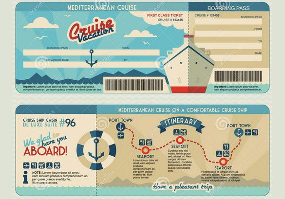 free cruise ship boarding pass design template