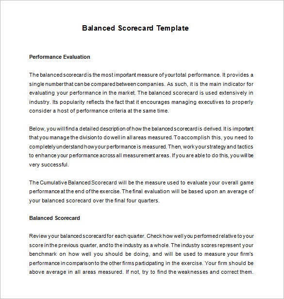 free download balanced scorecard template
