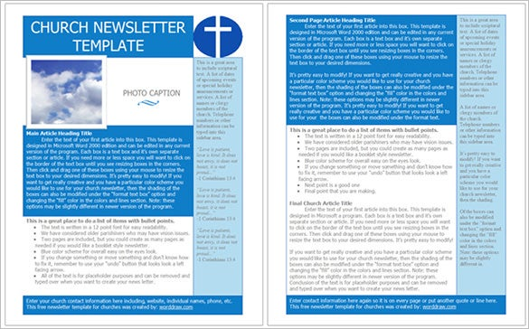 free download church newsletter template