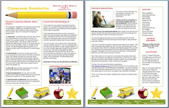 newsletter layout templates free download - 9 awesome classroom newsletter templates designs free