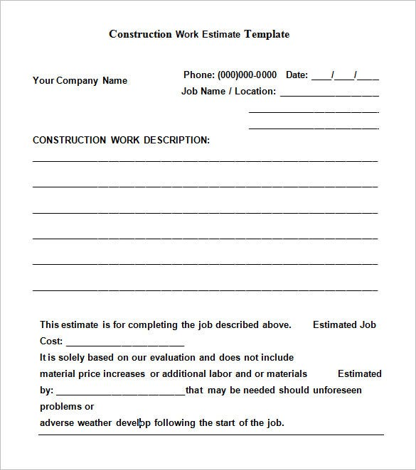 Free Download Construction Work Estimate Template