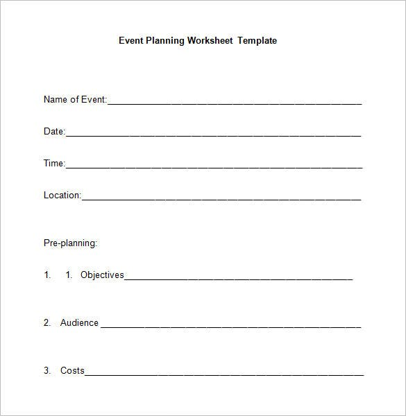 5 event planning worksheet templates free word for Template for planning an event