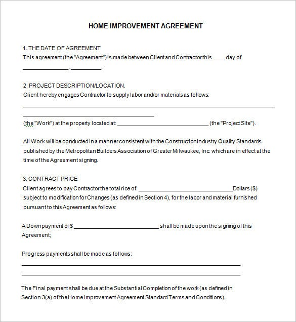 Captivating Free Download Home Improvement Contract Template