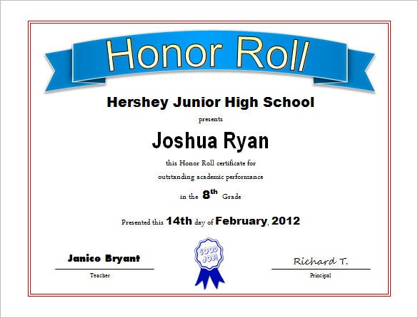 9 Printable Honor Roll Certificate Templates Free Word PDF – School Certificate Template