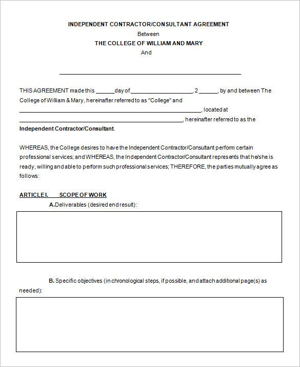 free download independent consultant contract template