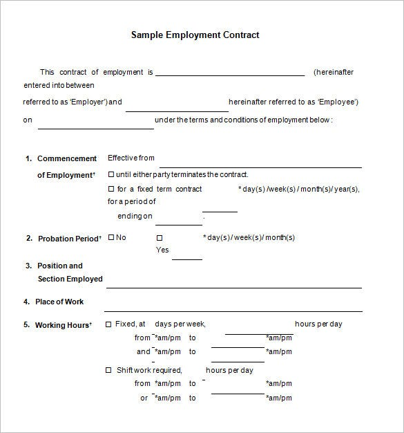 free download job contract template1