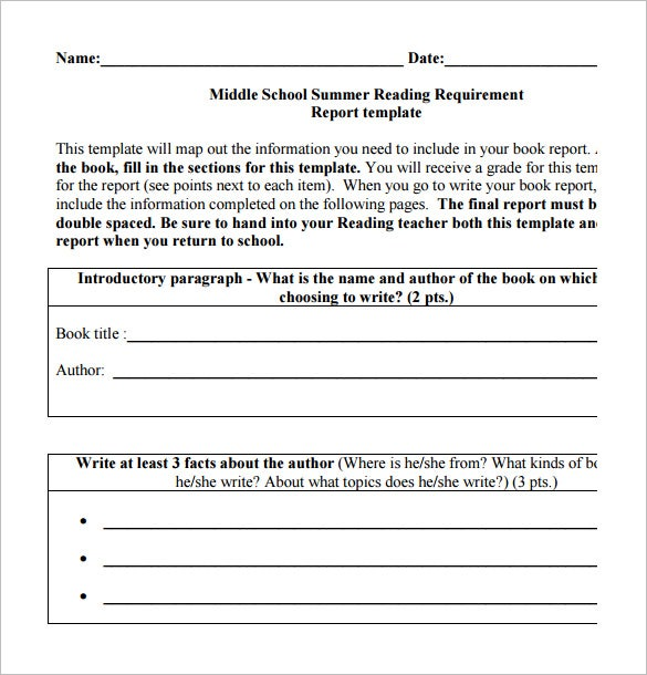 free download middle school book report template