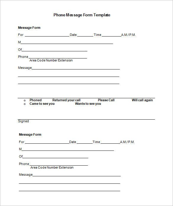 Basic Phone Message Form Template