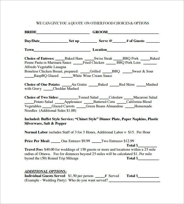 free download wedding catering contract template